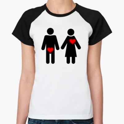 Женская футболка реглан Мужчина и женщина