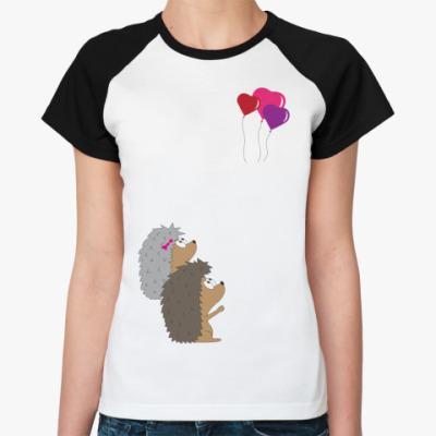 Женская футболка реглан   Ежи