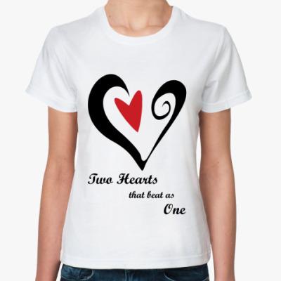 Классическая футболка Two hearts