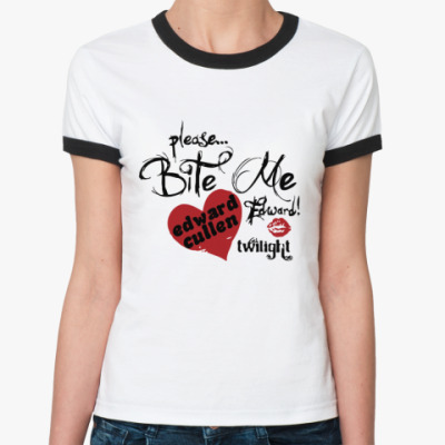 Женская футболка Ringer-T Please,bite me