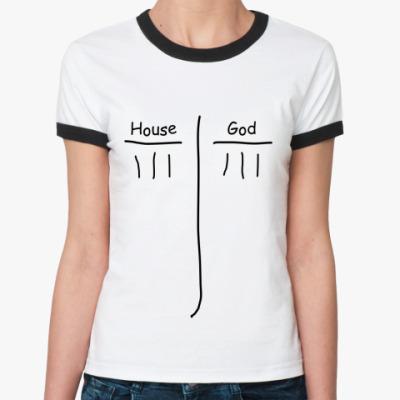 Женская футболка Ringer-T House God