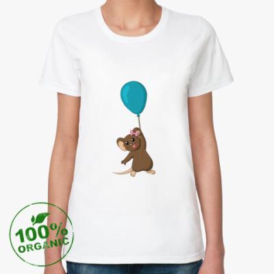 Женская футболка из органик-хлопка Мышка с шариком.