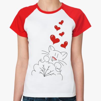Женская футболка реглан  'Кот-лямур'
