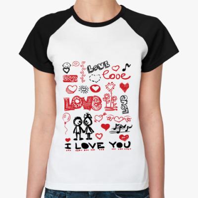 Женская футболка реглан Love mix