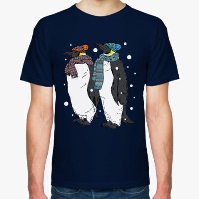 Футболка Новогодние пингвины в шапках
