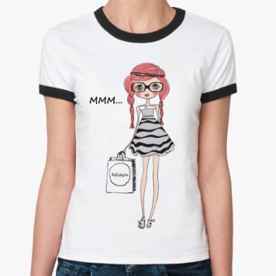 Женская футболка Ringer-T Мmm...