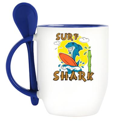 Кружка с ложкой Surf Shark