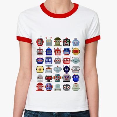 Женская футболка Ringer-T   Роботы