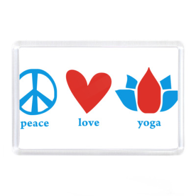 """Магнит  """"Peace, Love, Yoga"""""""