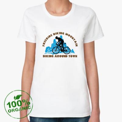 Женская футболка из органик-хлопка biking around town