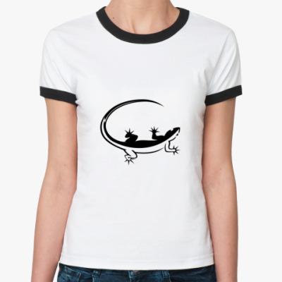 Женская футболка Ringer-T  Ящерица