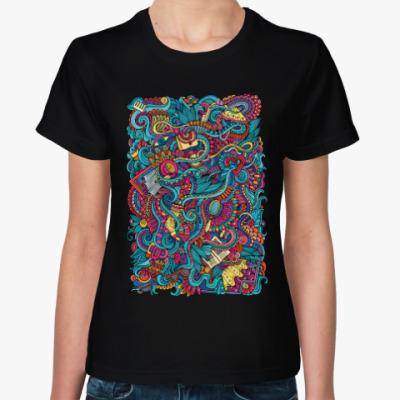 Женская футболка Woman doodles art