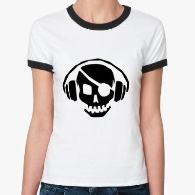 Женская футболка Ringer-T Music Skull