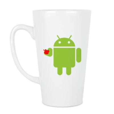 Чашка Латте Андроид с яблоком