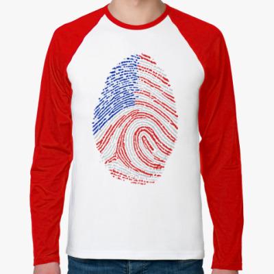 Футболка реглан с длинным рукавом USA отпечаток