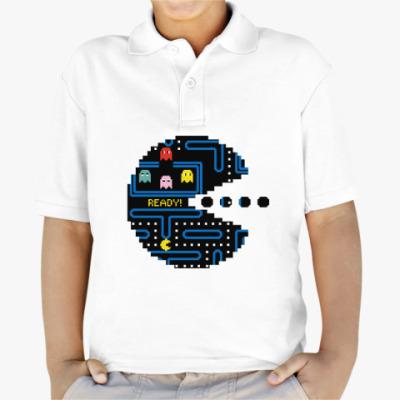 Детская рубашка поло Pac-Man. PacMan. ПакМан. ПакМен. Pixels. Ready!
