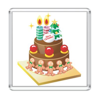 Магнит Рождественский торт