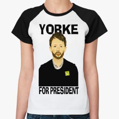 Женская футболка реглан Yorke  Ж(бел/чёрн)