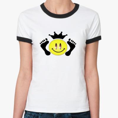 Женская футболка Ringer-T смайл-король