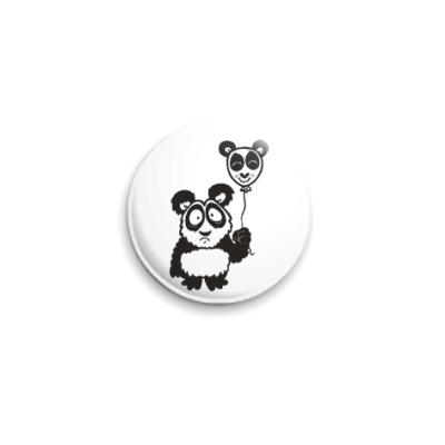 Значок 25мм Панда с шариком