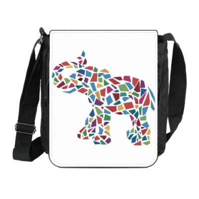 Сумка на плечо (мини-планшет) Слон - мозаика