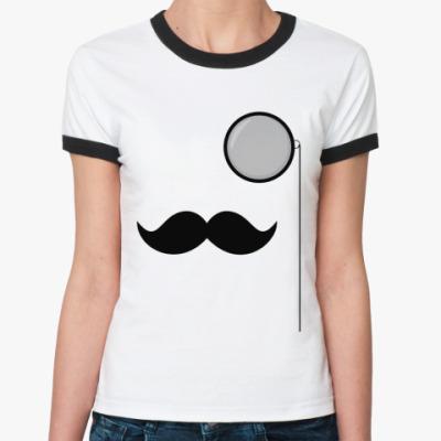 Женская футболка Ringer-T Усы и монокль