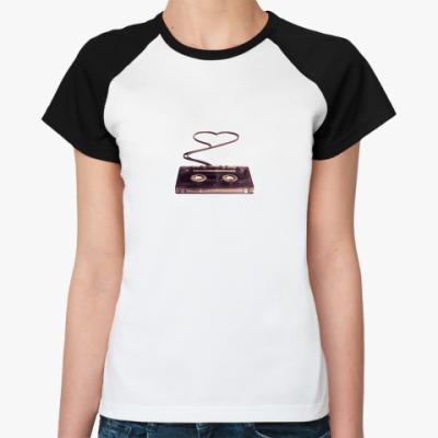 Женская футболка реглан музыка - это любовь