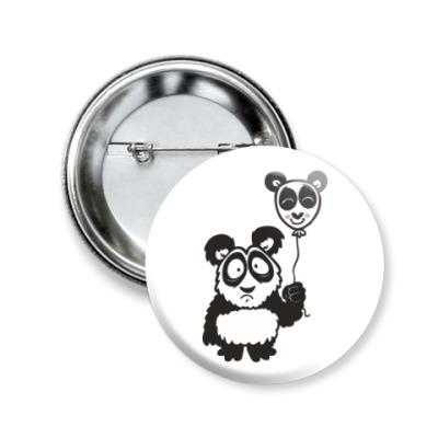 Значок 50мм Панда с шариком