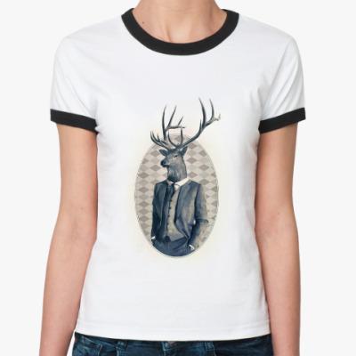 Женская футболка Ringer-T олень в костюме