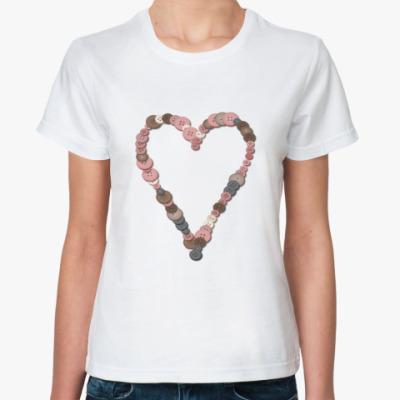 Классическая футболка Сердце из пуговиц