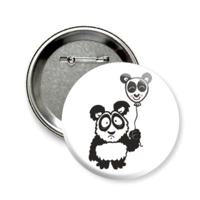 Значок 58мм Панда с шариком