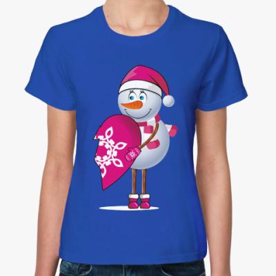 Женская футболка Парные. Снеговик. Любовь. Зима