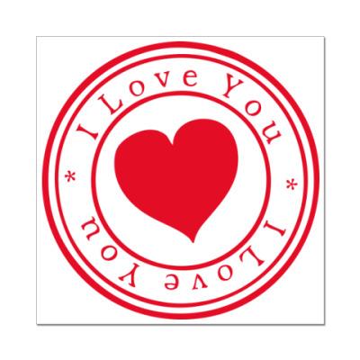 Наклейка (стикер)  Я тебя люблю