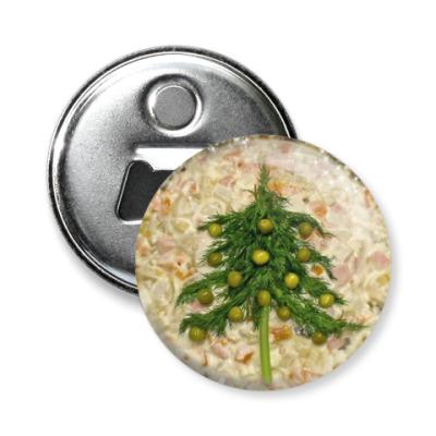 Магнит-открывашка Новогодний салат оливье