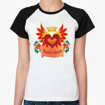 Женская футболка реглан  сердце с крыльями