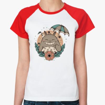 Женская футболка реглан Smile Totoro