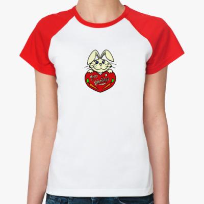 Женская футболка реглан  Заяц с валентинкой