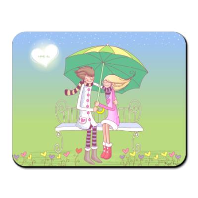 Коврик для мыши Любовь под зонтом