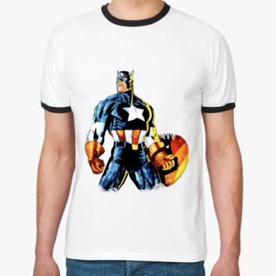 Футболка Ringer-T Капитан Америка