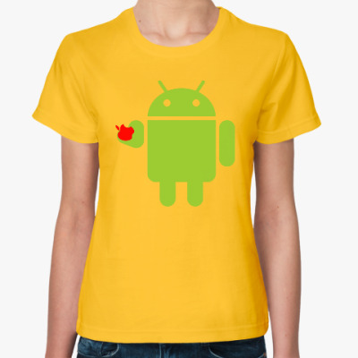 Женская футболка Андроид с яблоком