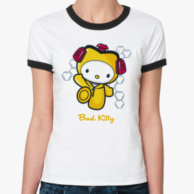 Женская футболка Ringer-T Bad Kitty
