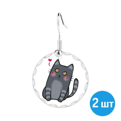 Серьги Влюбленный кот