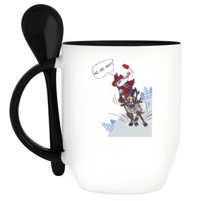 Кружка с ложкой лихой Санта