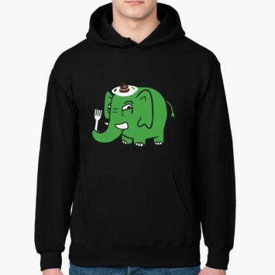 Толстовка худи Зелёный слоник