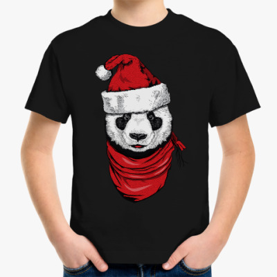Детская футболка Панда Санта-Клаус