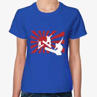 Женская футболка Сноуборд sunrise