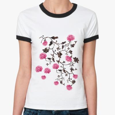 Женская футболка Ringer-T  'Розочки'
