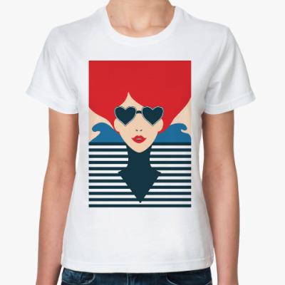 Классическая футболка Француженка, иллюстрация, поп арт