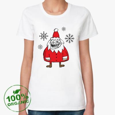 Женская футболка из органик-хлопка Trollface Santa