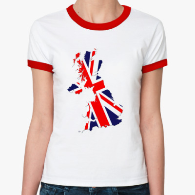 Женская футболка Ringer-T The UK Geography
